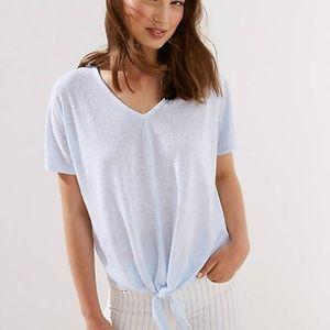 NWT LOFT Light Blue Tie Hem Soft Dolman Tee - M/L